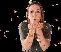 Melanie Lindemann pustet Konfetti