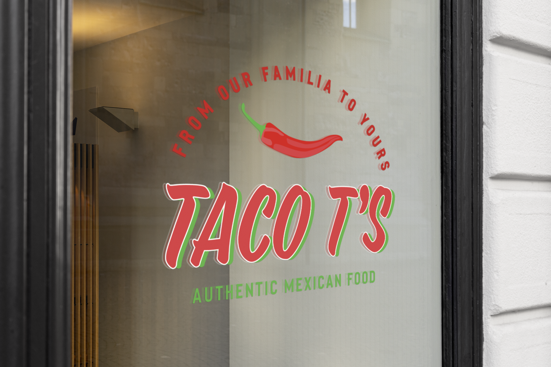 Taco T's store front glass