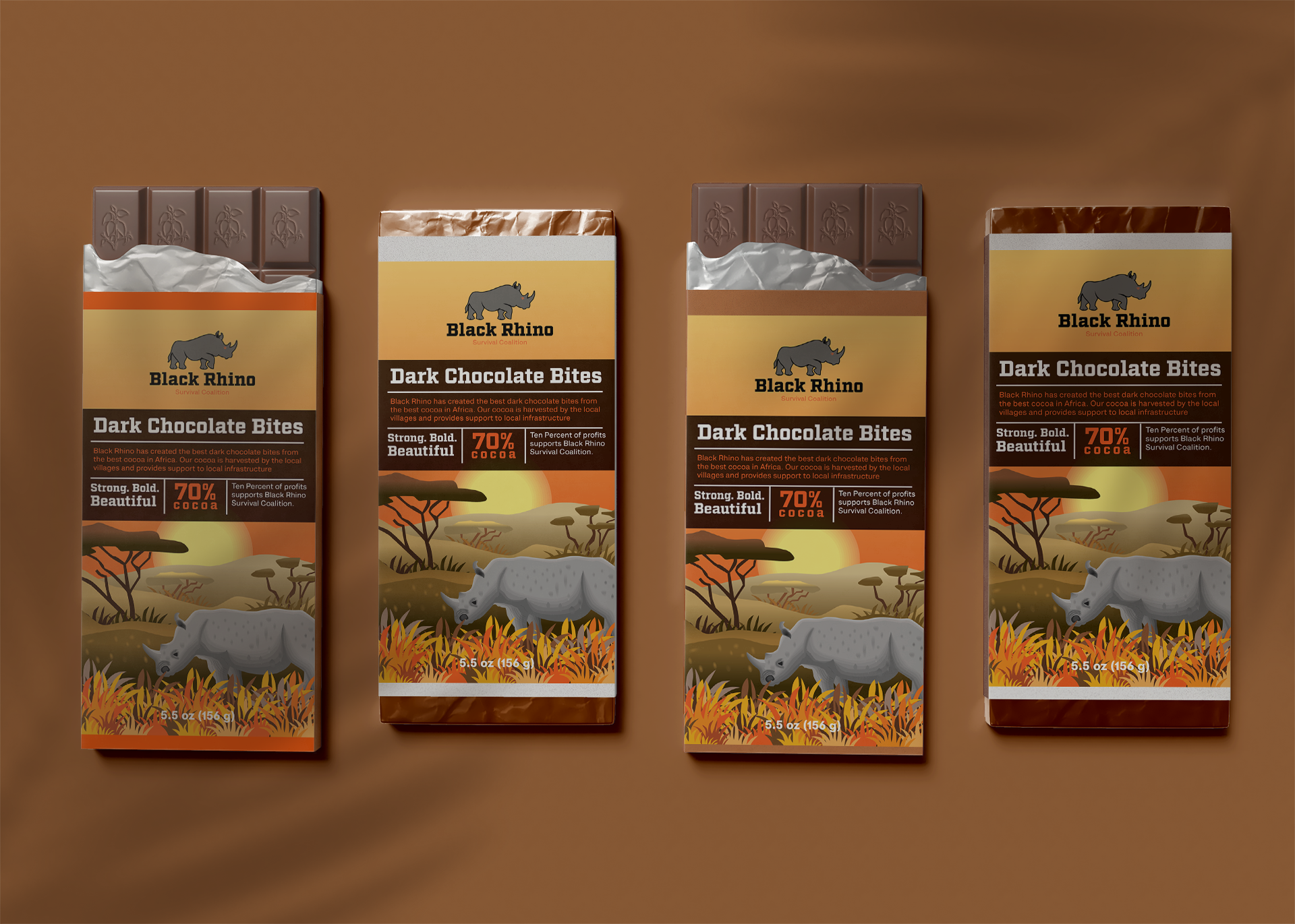 Black Rhino Chocolate packaging design