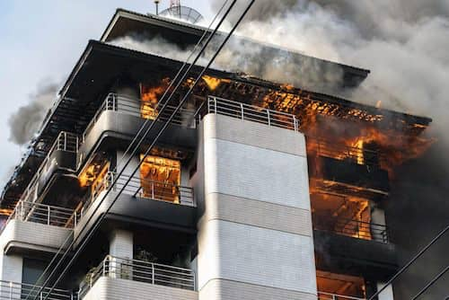 High-rise building on fire