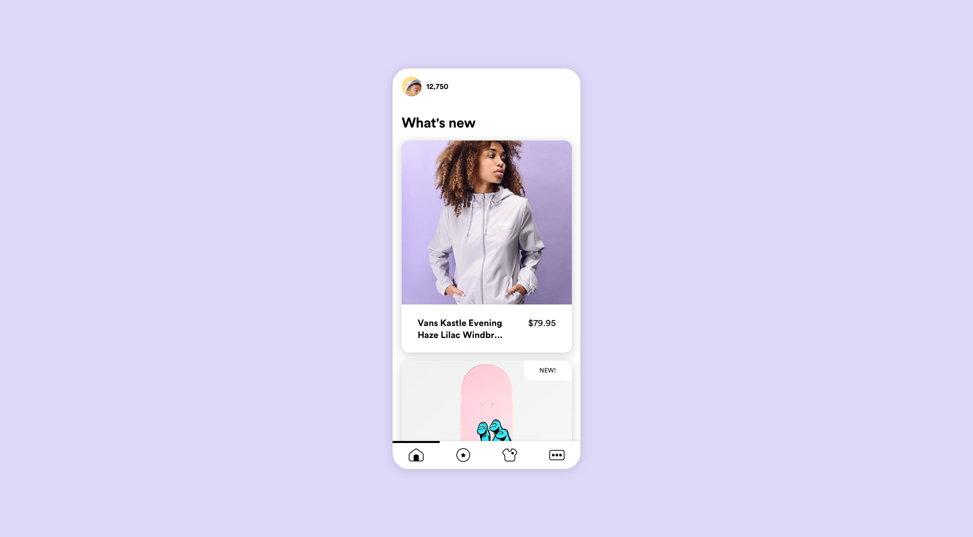 A pastel purple background featuring a minimalist phone. On the phone is a feed of cards containing various images.