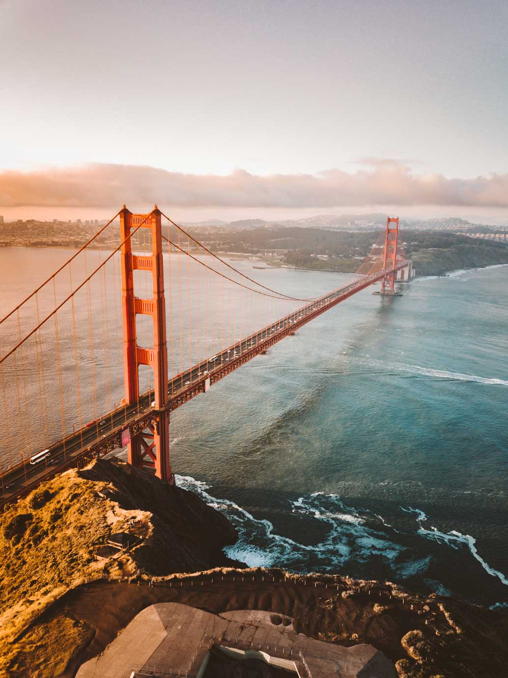 Aerial view of San Francisco Golden Gate Bridge.  Icon of the Bay Area, the home of Rosalyn.ai.