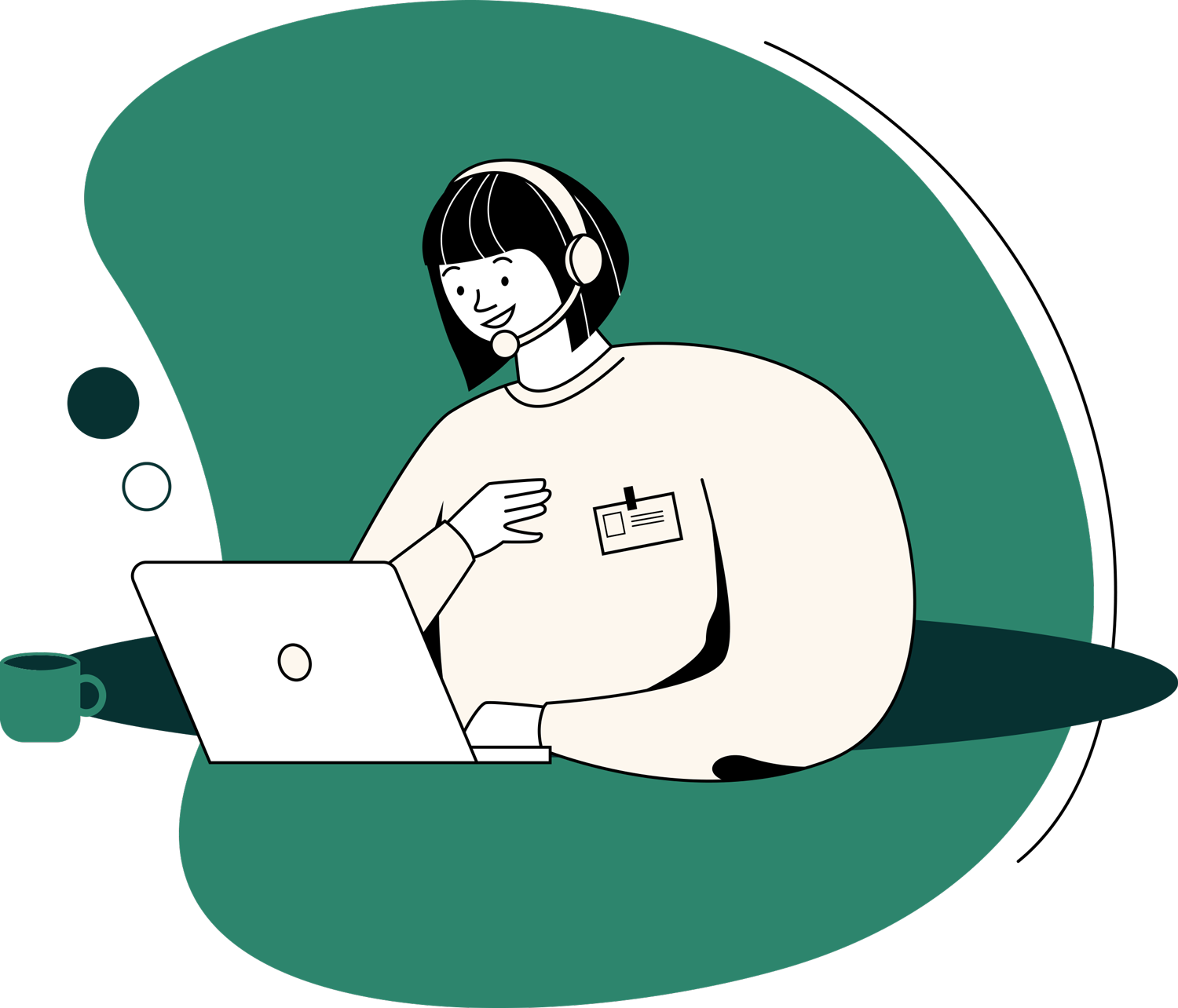 An illustration of a person wearing a headset on a video call.