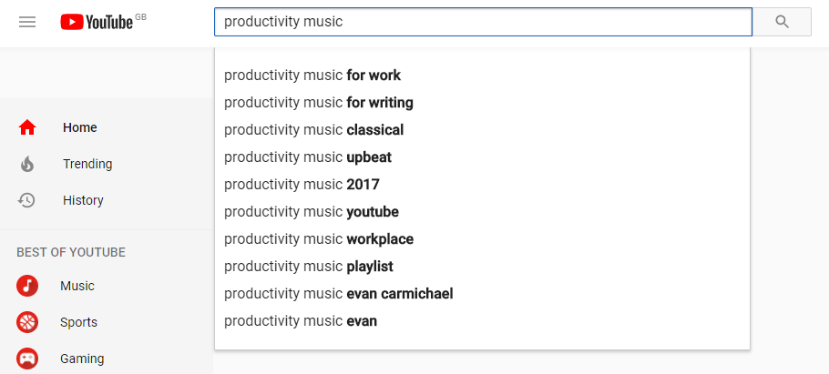 Searching for 'productivity music' on YouTube
