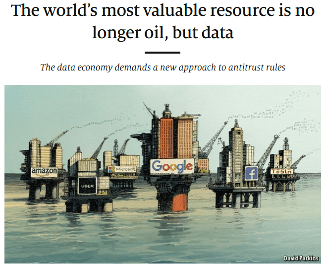 """The Economist with the headline """"The world's most valuable resource is no longer oil, but data"""""""