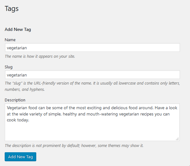Screenshot of how to create WordPress tag for food blogger