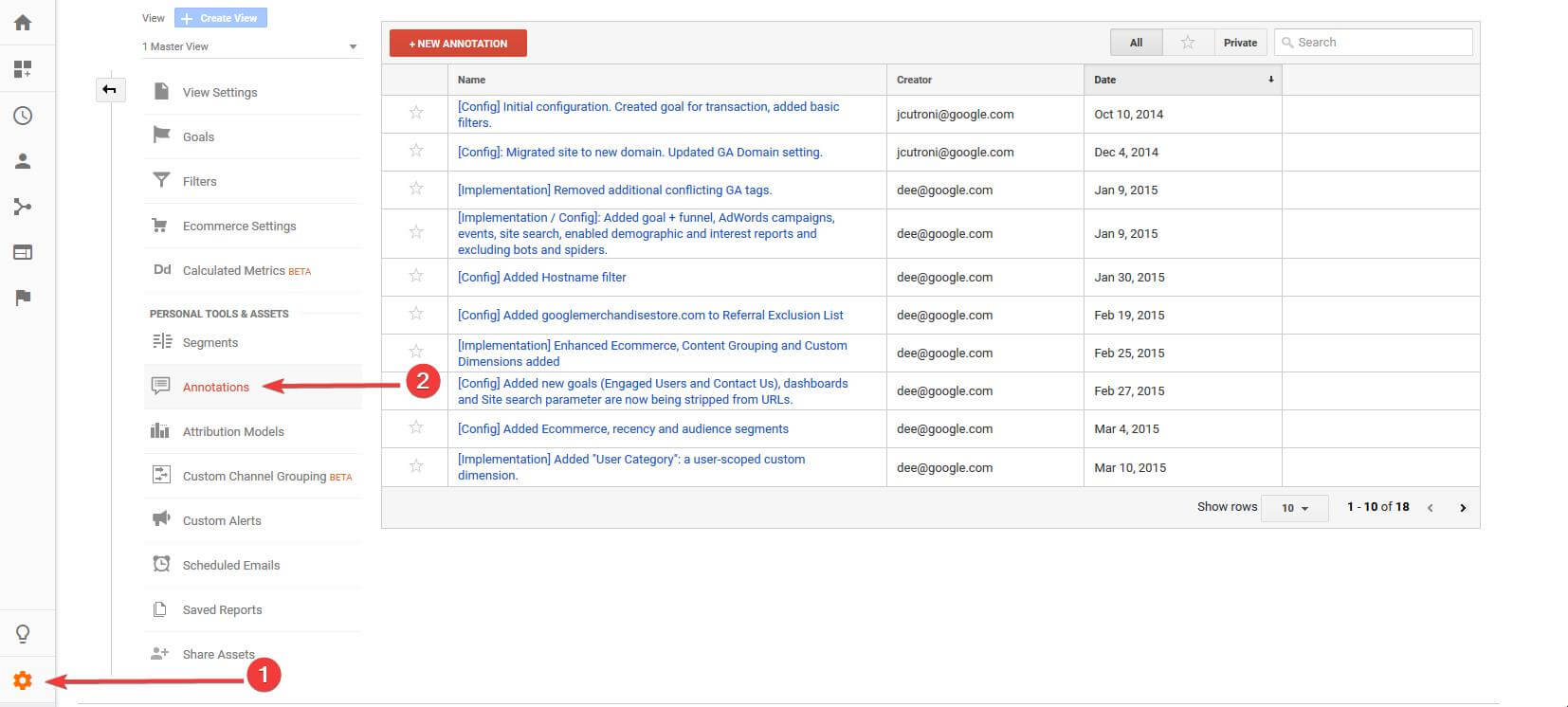 How to View All Google Analytics Annotations