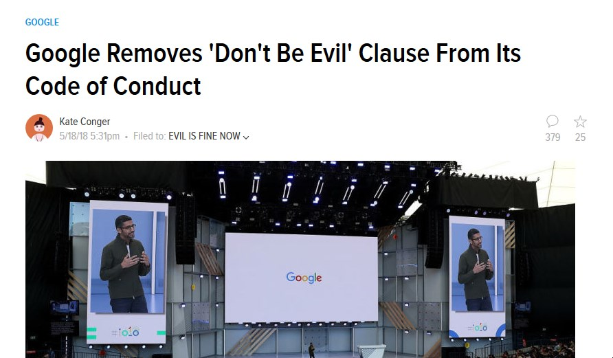 """Publisher headline showing """"Google Removes 'Don't Be Evil' Clause From Its Code of Conduct"""""""
