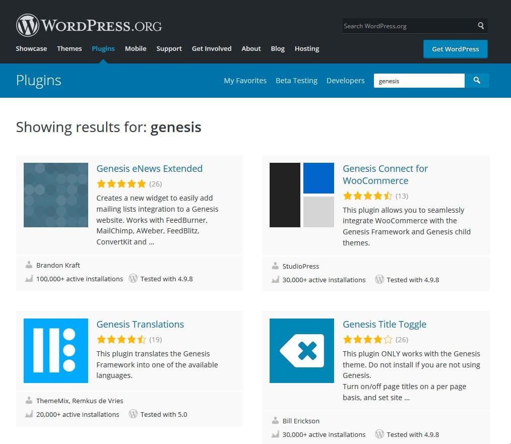 screenshot of Wordpress plugins