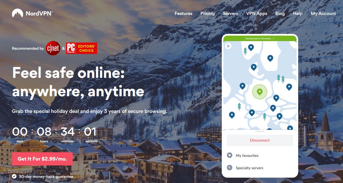 screenshot of NordVPN homepage