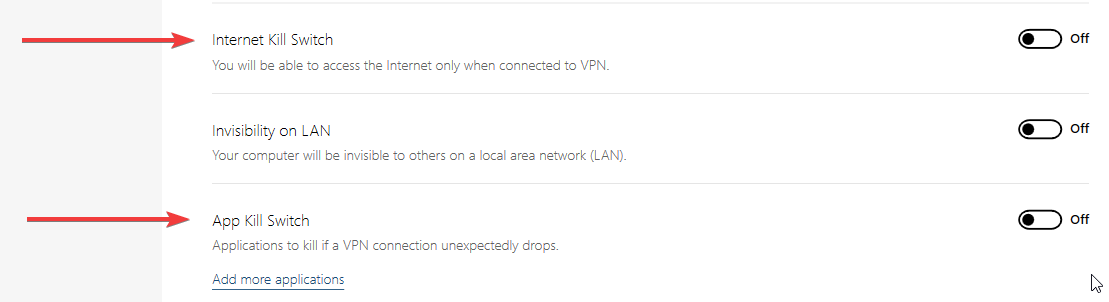 screenshot of NordVPN kill switch feature info