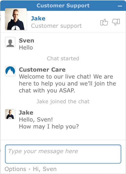 screenshot of NordVPN chat widget