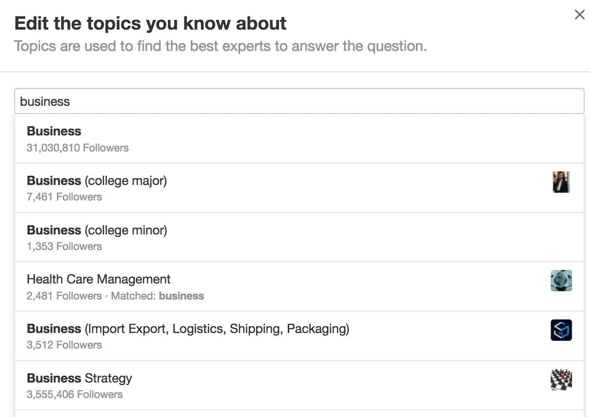 optimising Quora profile - editing topics