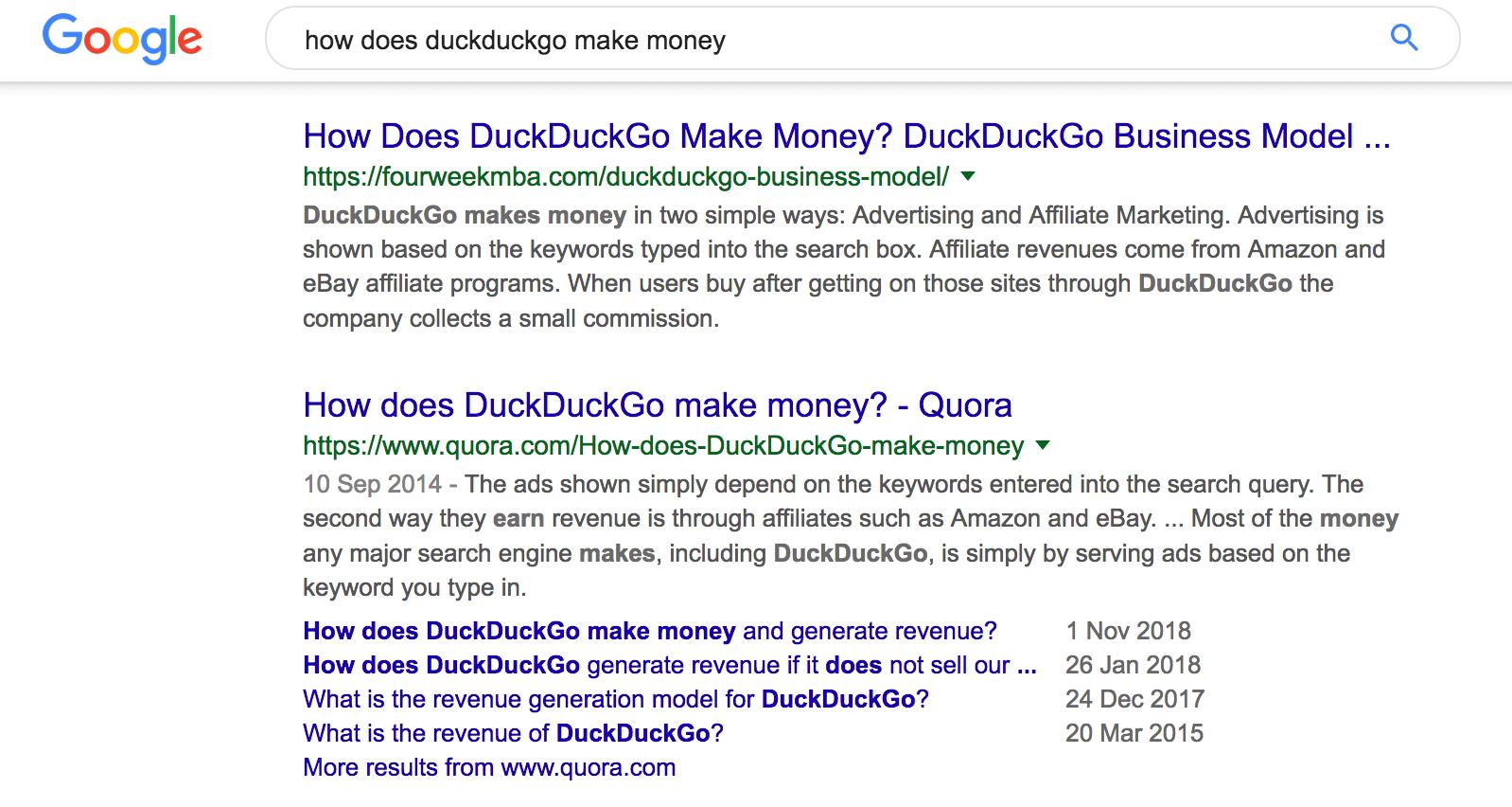 DuckDuckGo google search results
