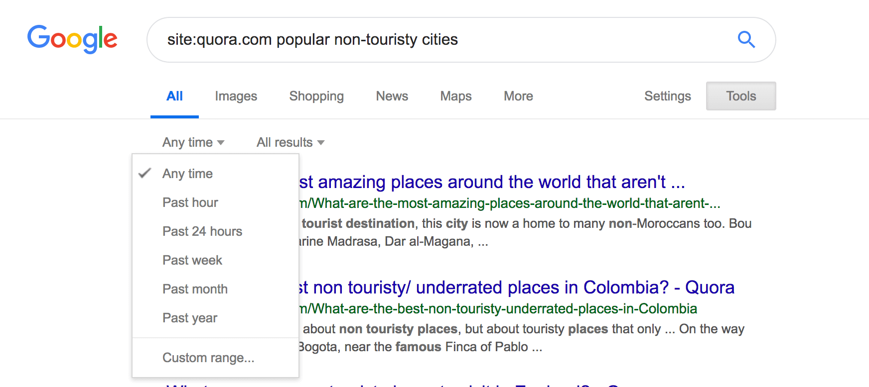 google search results page with time filter option