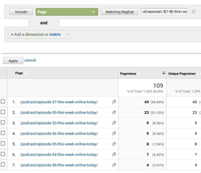 How to use Square Brackets and Dashas Regex on Google Analytics