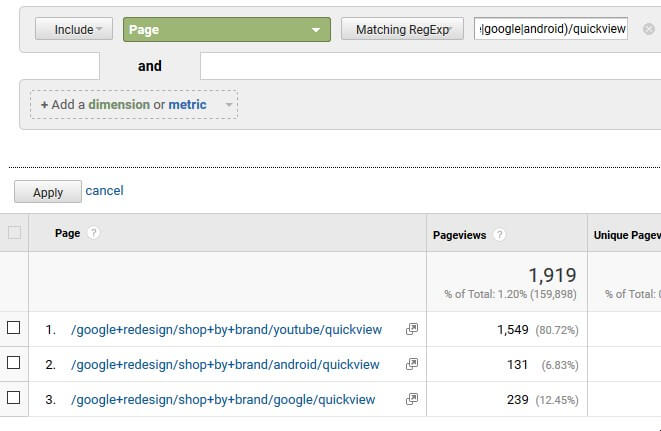How to use Parentheses as Regex on Google Analytics