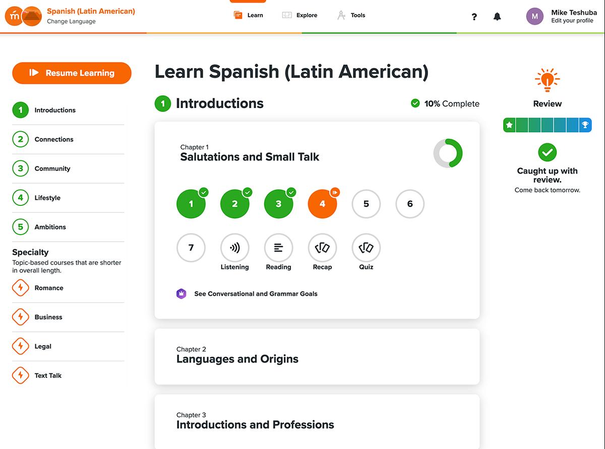 screenshot of Mango's courses pathway.