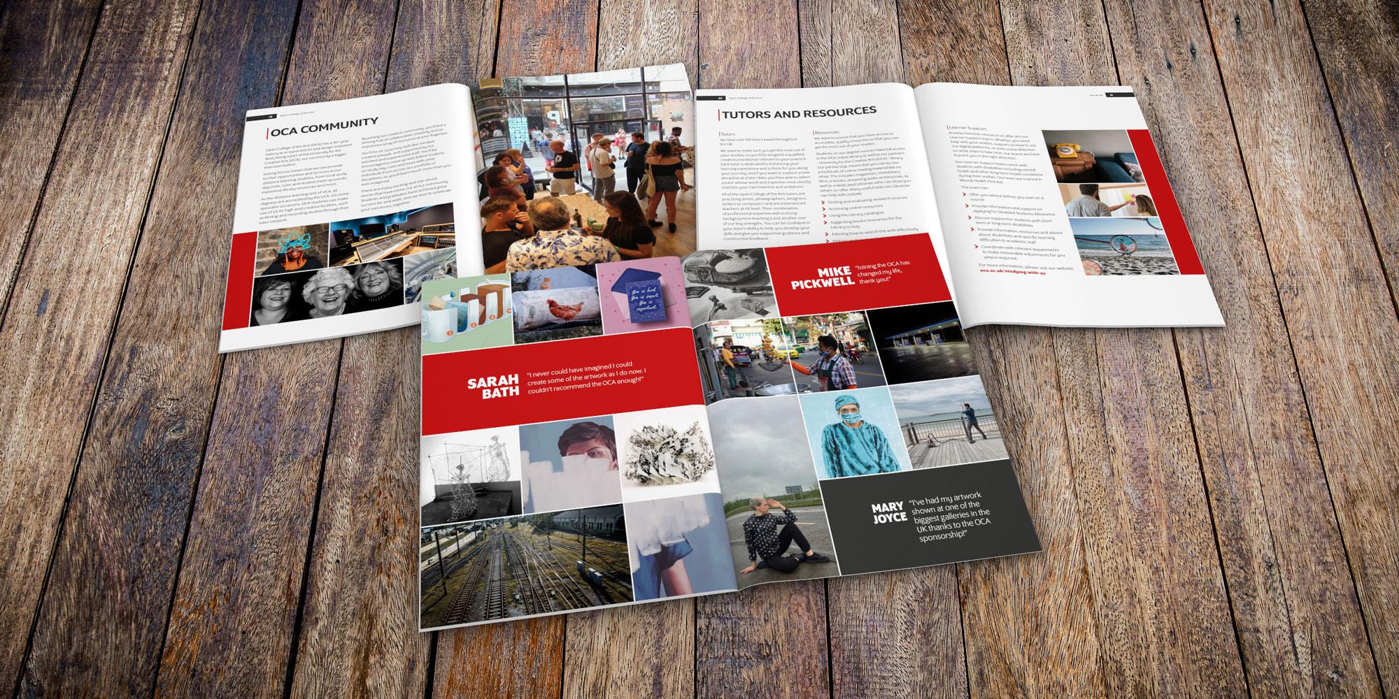 Open College of the Arts prospectus design for print