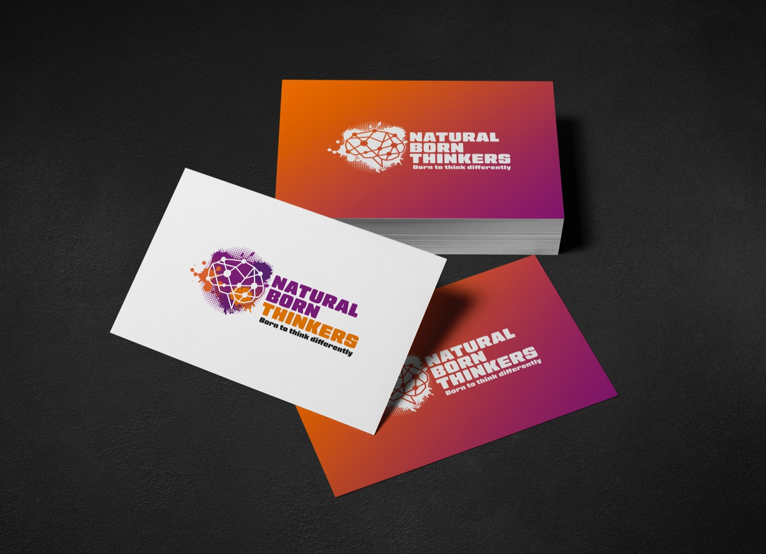 Natural born thinkers logo design on a business cards.