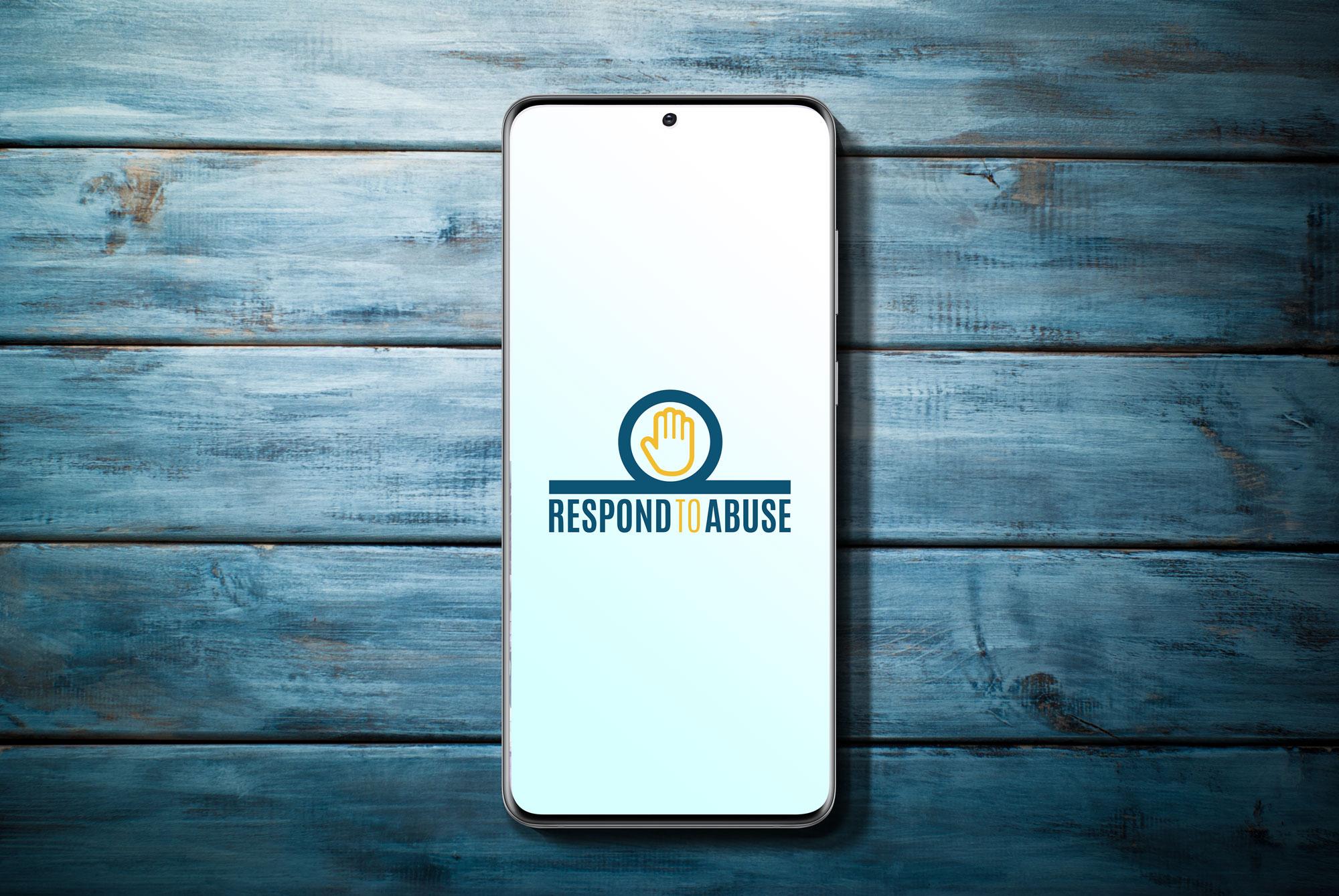 Hestia respond to abuse logo design on a phone screen