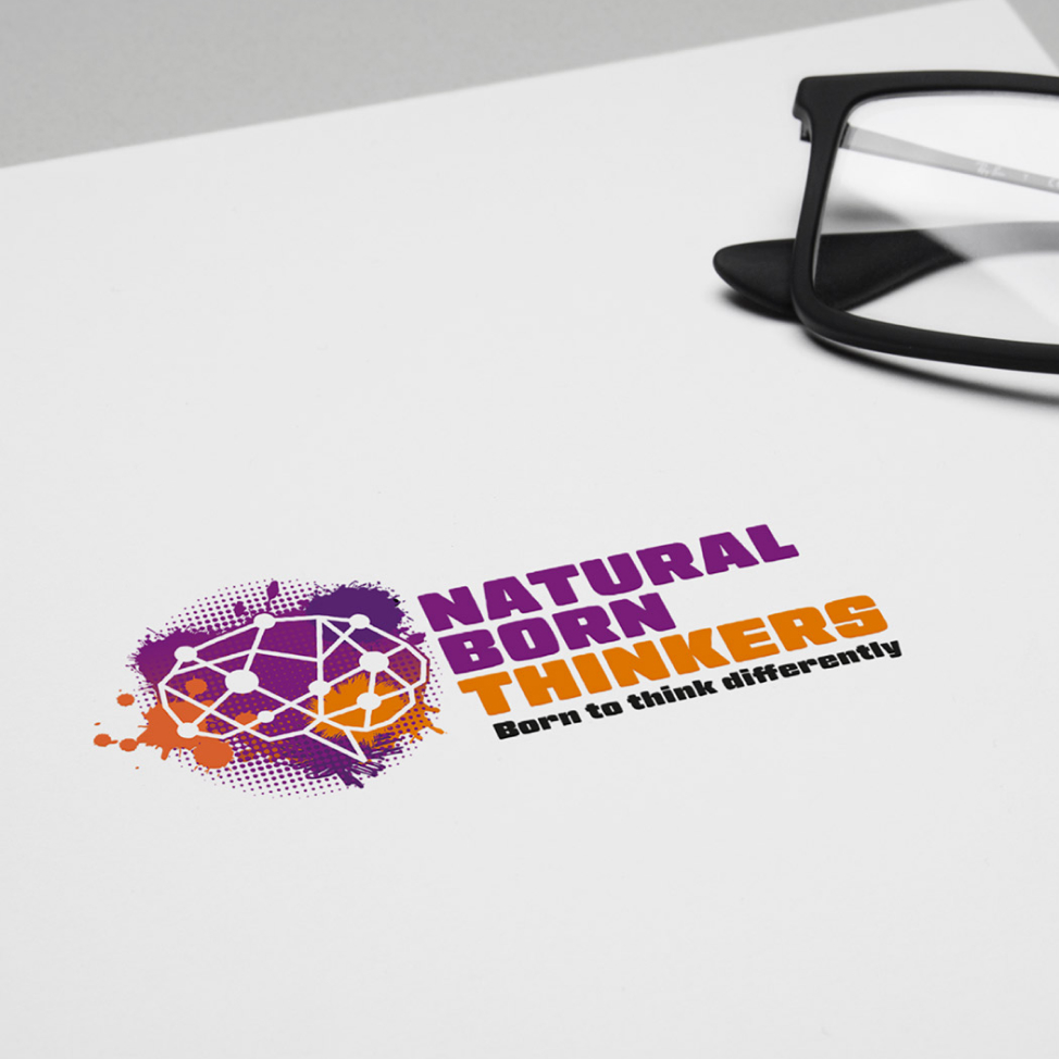 Natural born thinkers logo design on a stationery.