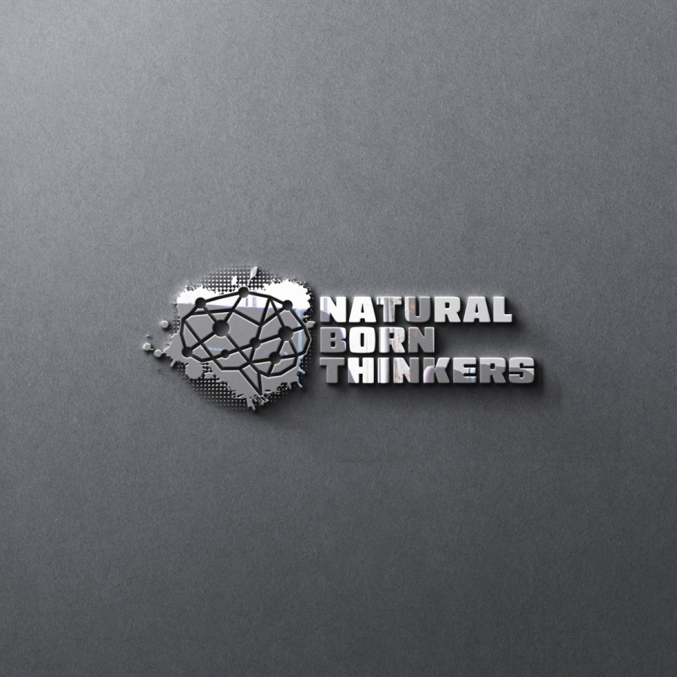 Natural born thinkers logo design on a wall.