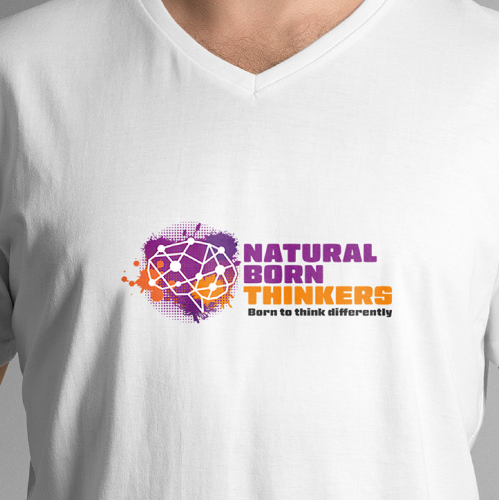 Natural born thinkers logo design on a t-shirt.