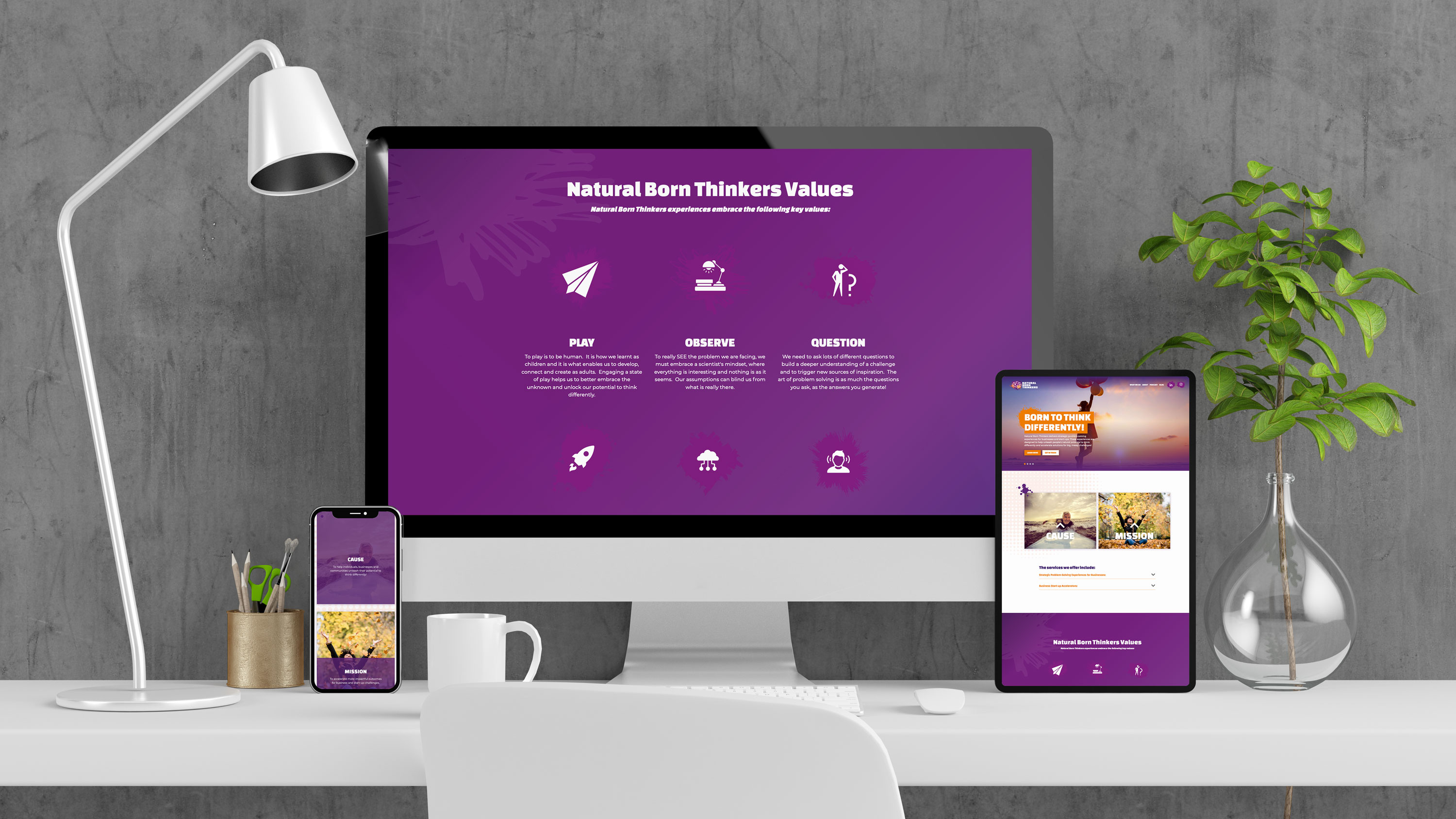 Natural born thinkers website design on multiple devices.