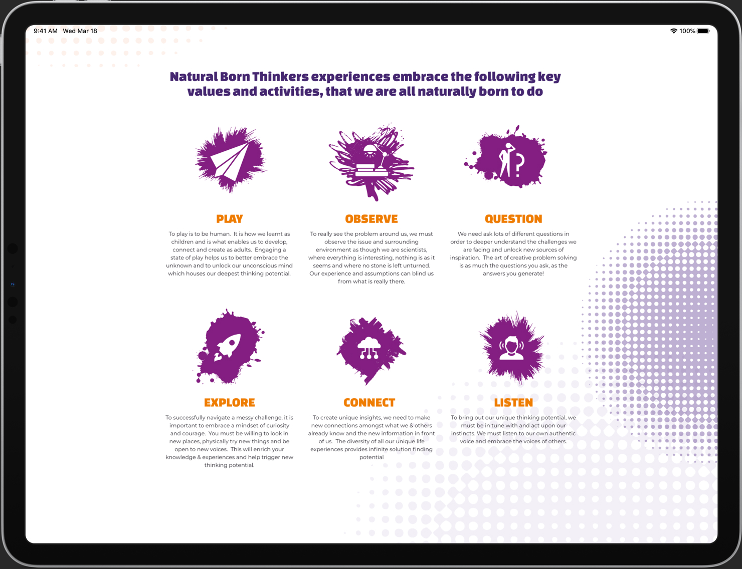 Natural born thinkers website design on a tablet.