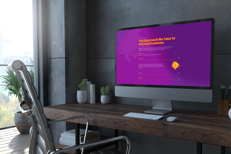 Natural born thinkers website design on a desktop computer screen.