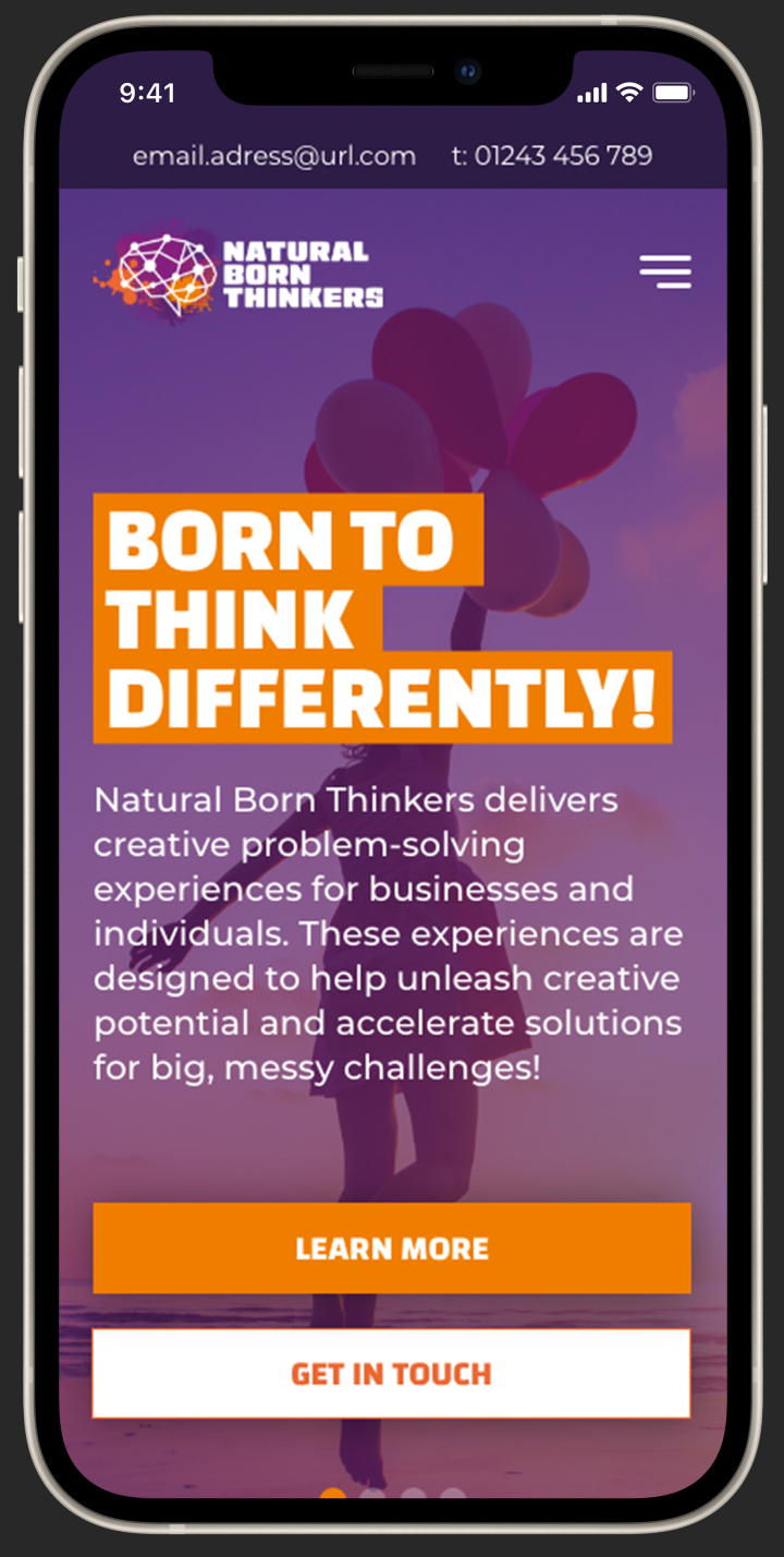 Natural born thinkers website design on a smartphone screen.