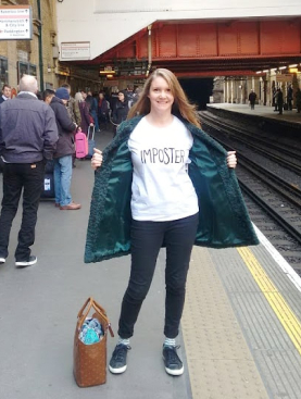 Anna Brindle on her way to Tshirt Cult Culture Subversion exhibition