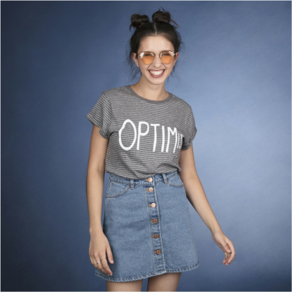 Lost Shapes Over Optimistic organic t-shirt for women in dark grey pinstripe
