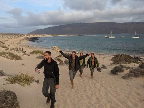 Josh com nossa equipe visitando a ilha de La Graciosa, nas Ilhas Canárias, novembro de 2020