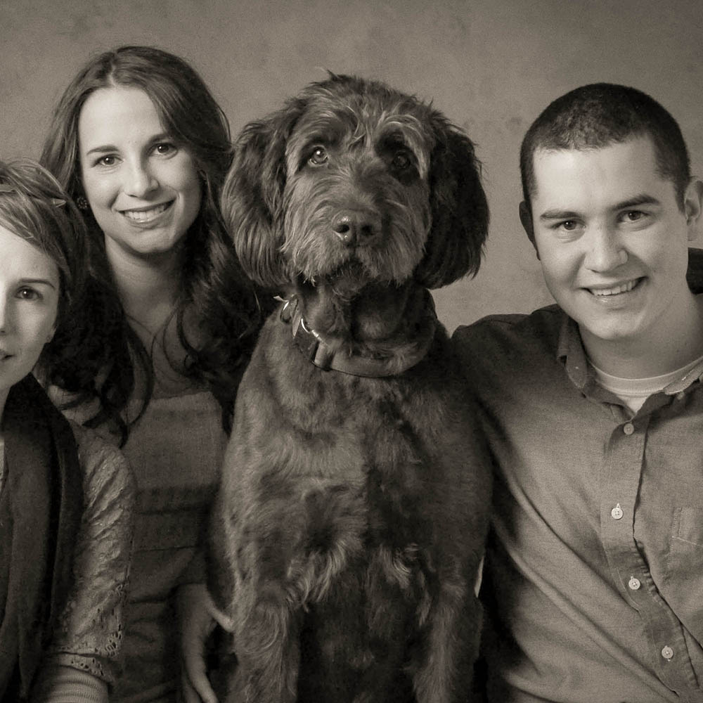 Family portrait with dog photographed by Will Crockett