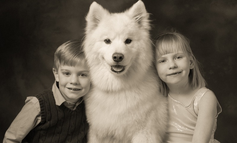 Kids with Dog Portrait by Will Crockett
