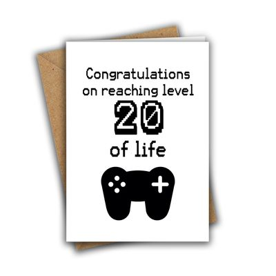Congratulations On Reaching Level 20 of Life Nerd Geek Gamer A5 Age Birthday Card