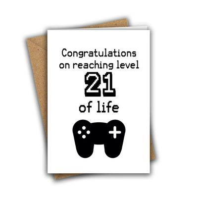Congratulations On Reaching Level 21 of Life Nerd Geek Gamer A5 Age Birthday Card