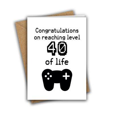 Congratulations On Reaching Level 40 of Life Nerd Geek Gamer A5 Age Birthday Card