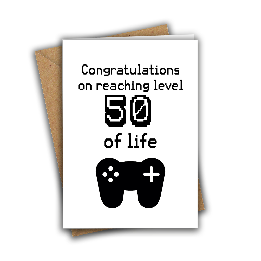Congratulations On Reaching Level 50 of Life Nerd Geek Gamer A5 Age Birthday Card