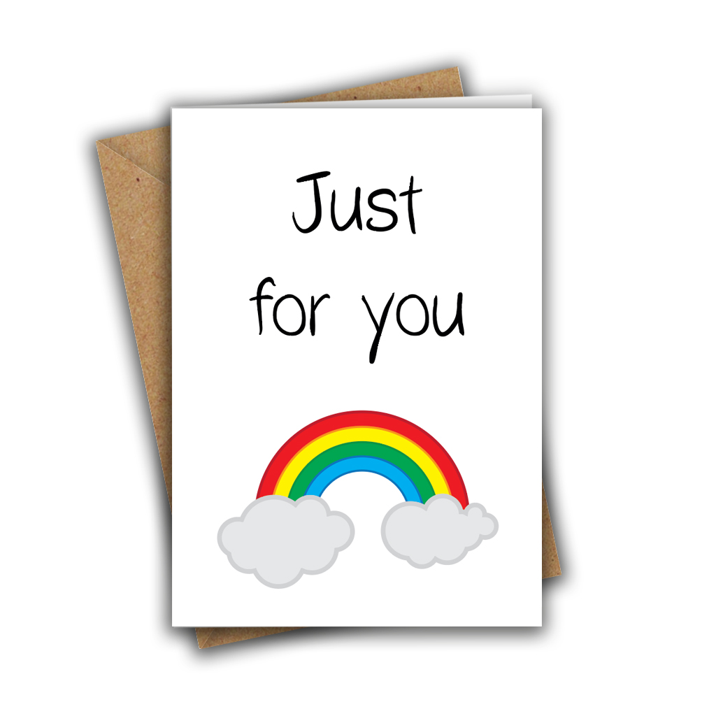 Just for You Rainbow Paper Hug Sweet Cute A5 Greeting Card