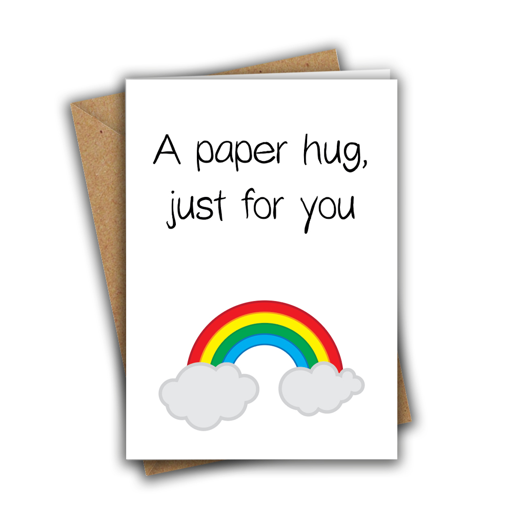 A Paper Hug, Just for You Rainbow Sweet Cute A5 Greeting Card