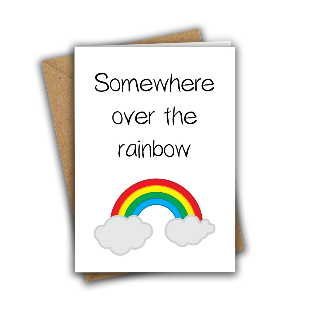 Somewhere Over the Rainbow Paper Hug Sweet Cute A5 Greeting Card