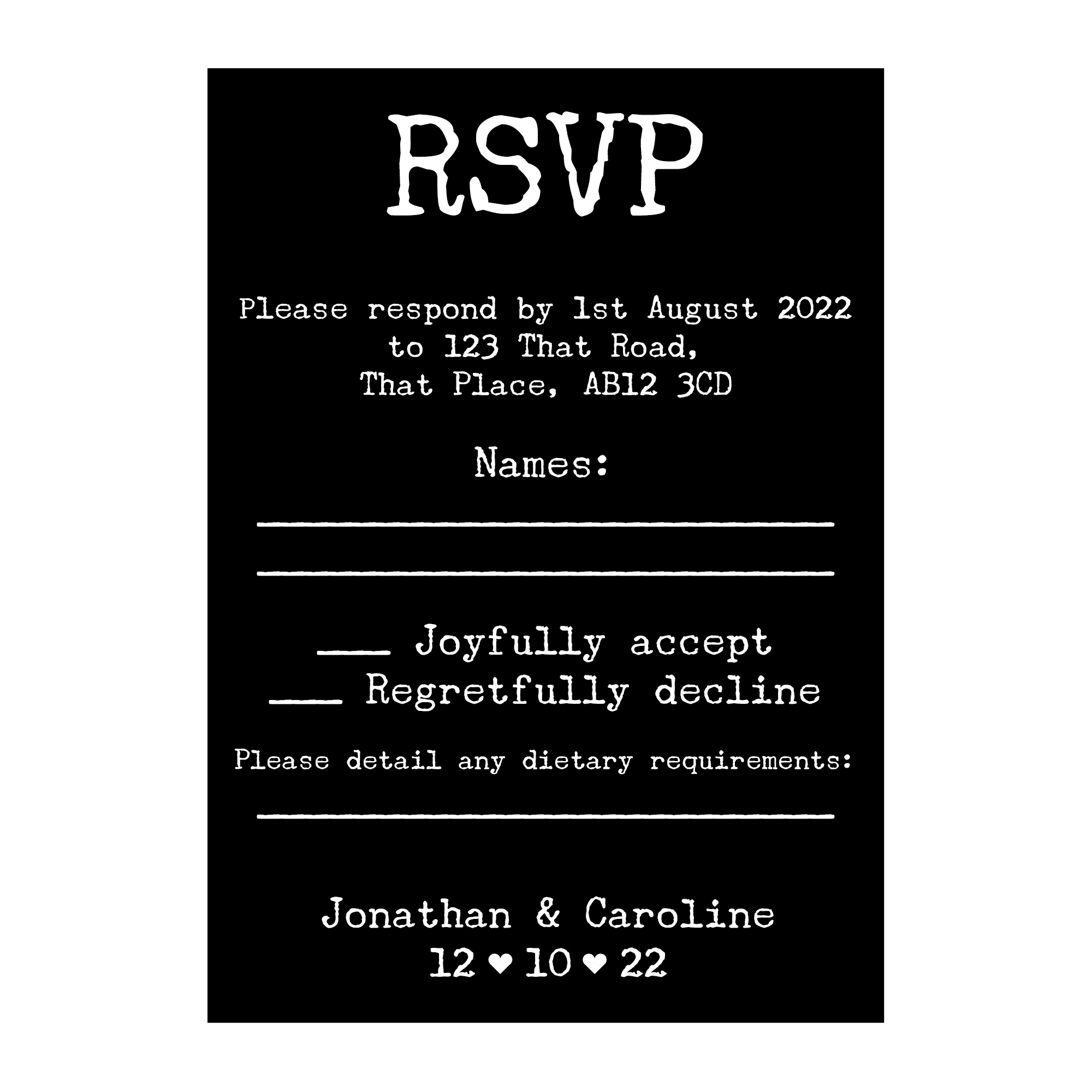 Black with White Ink Rustic Typewriter Wedding RSVP Dietary Requirement Cards