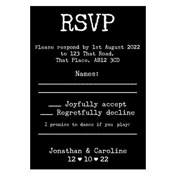 Black with White Ink Rustic Typewriter Wedding RSVP Song Request Cards