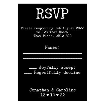 Black with White Ink Rustic Typewriter Wedding RSVP Cards