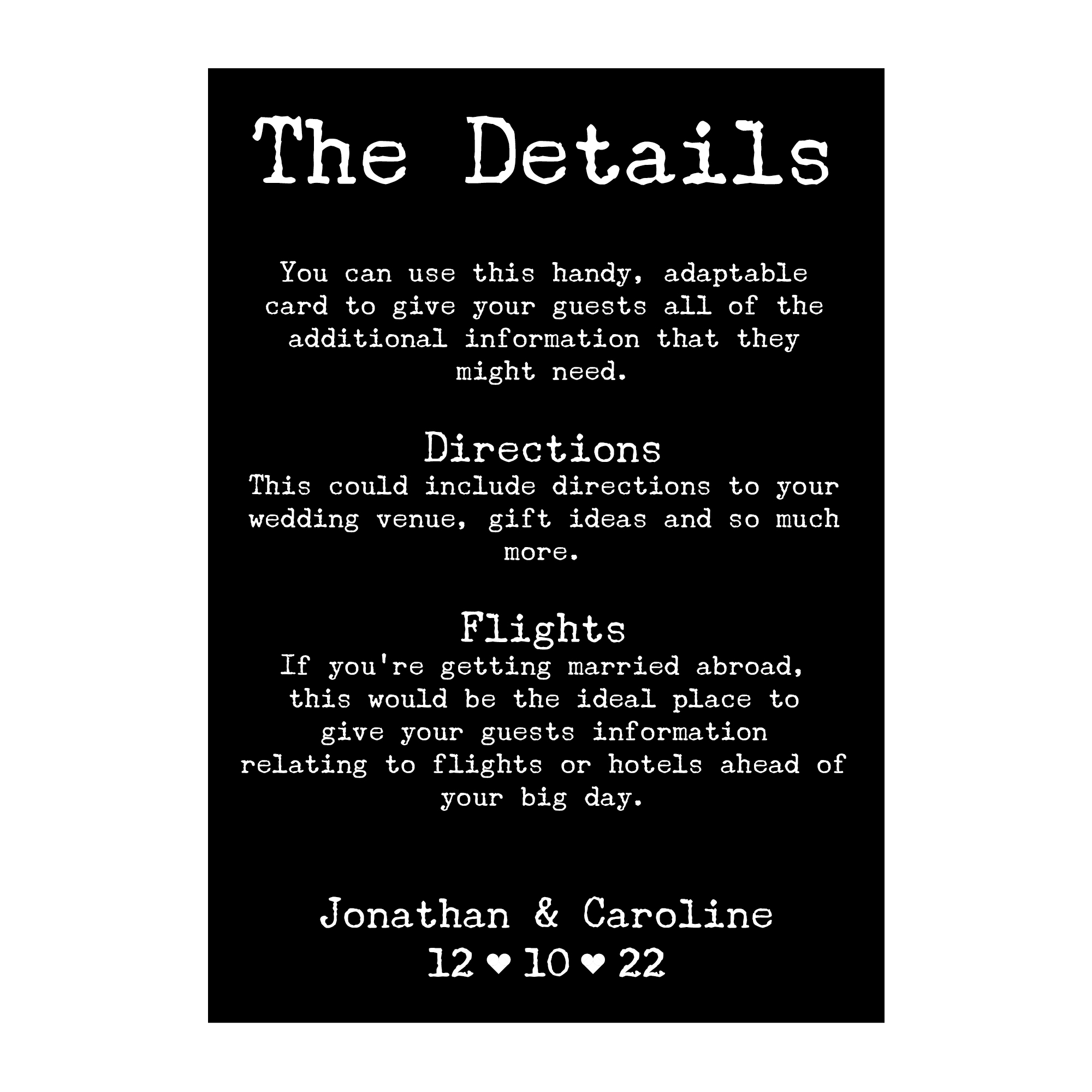 Black with White Ink Rustic Typewriter Guest Information Cards