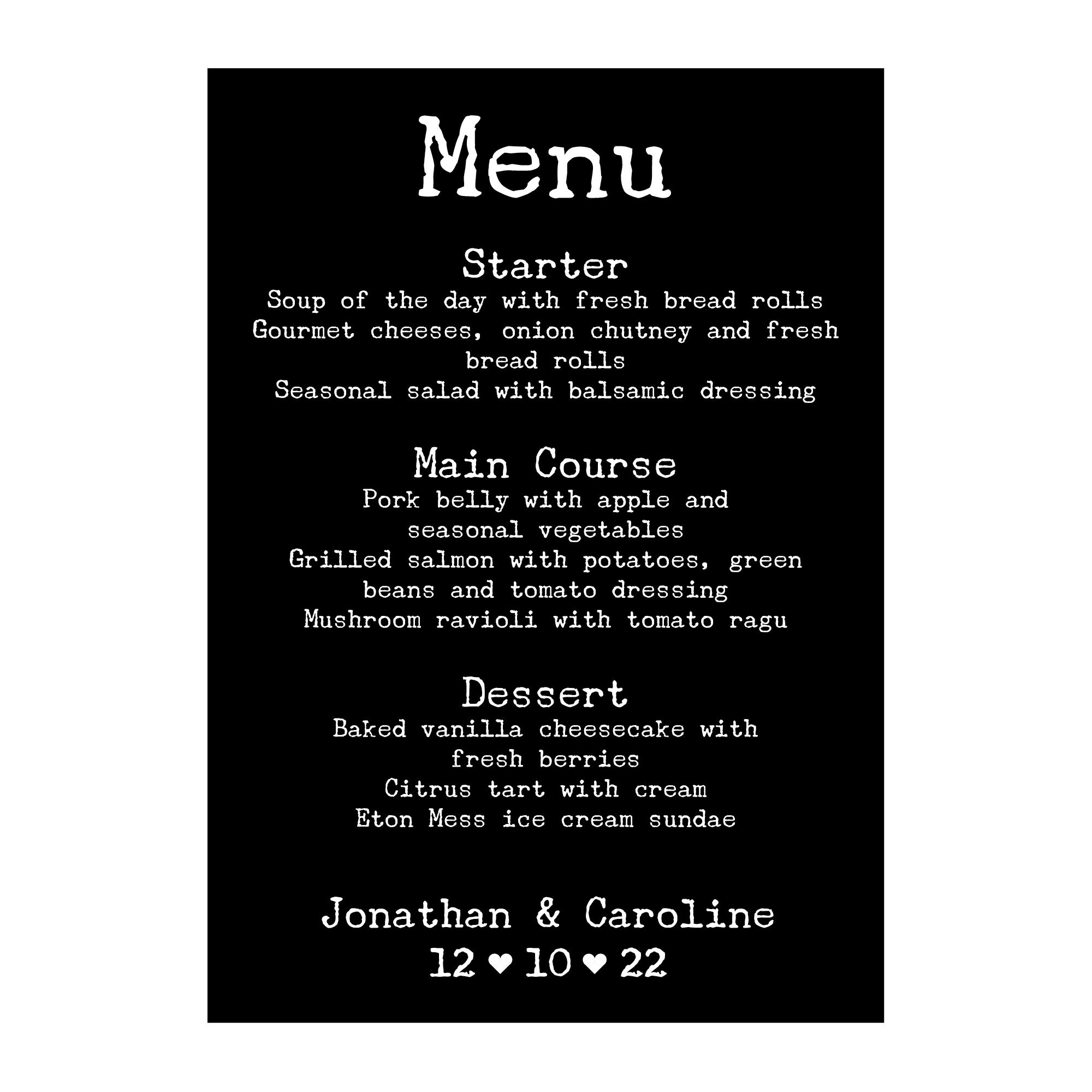 Black with White Ink Rustic Typewriter Menu Cards