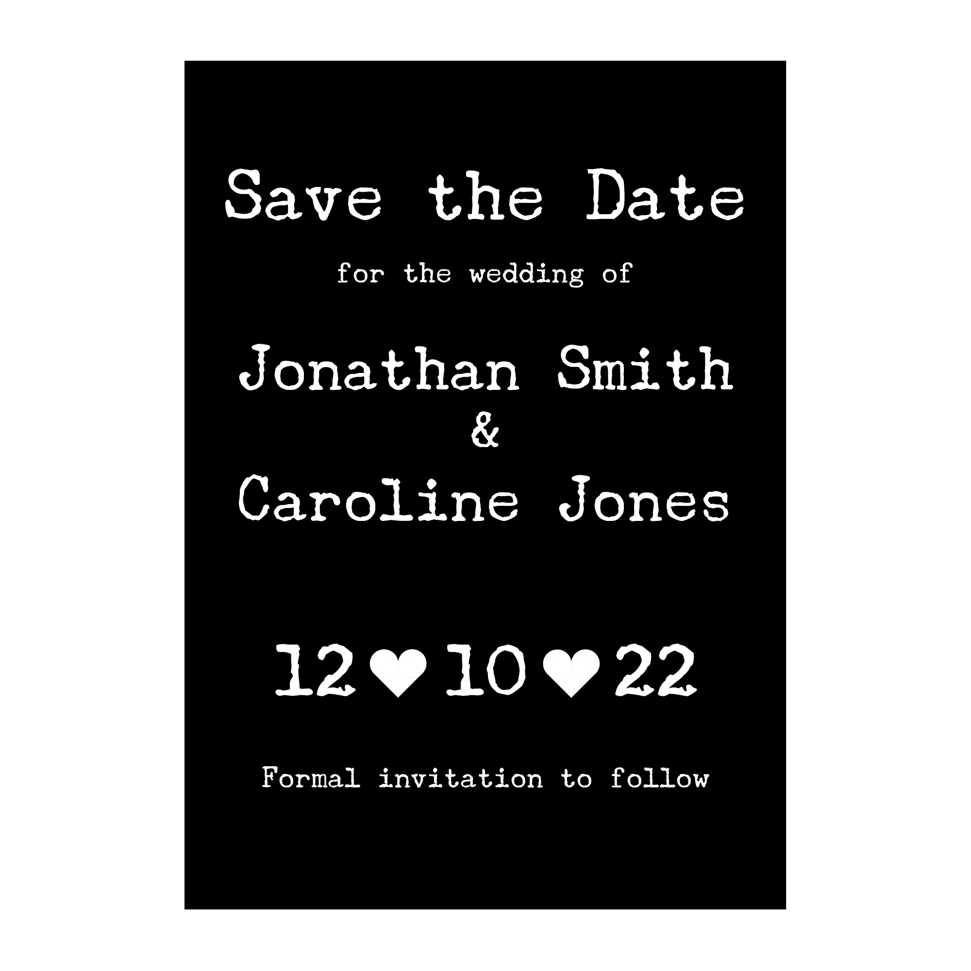Black with White Ink Rustic Typewriter Save the Date Cards
